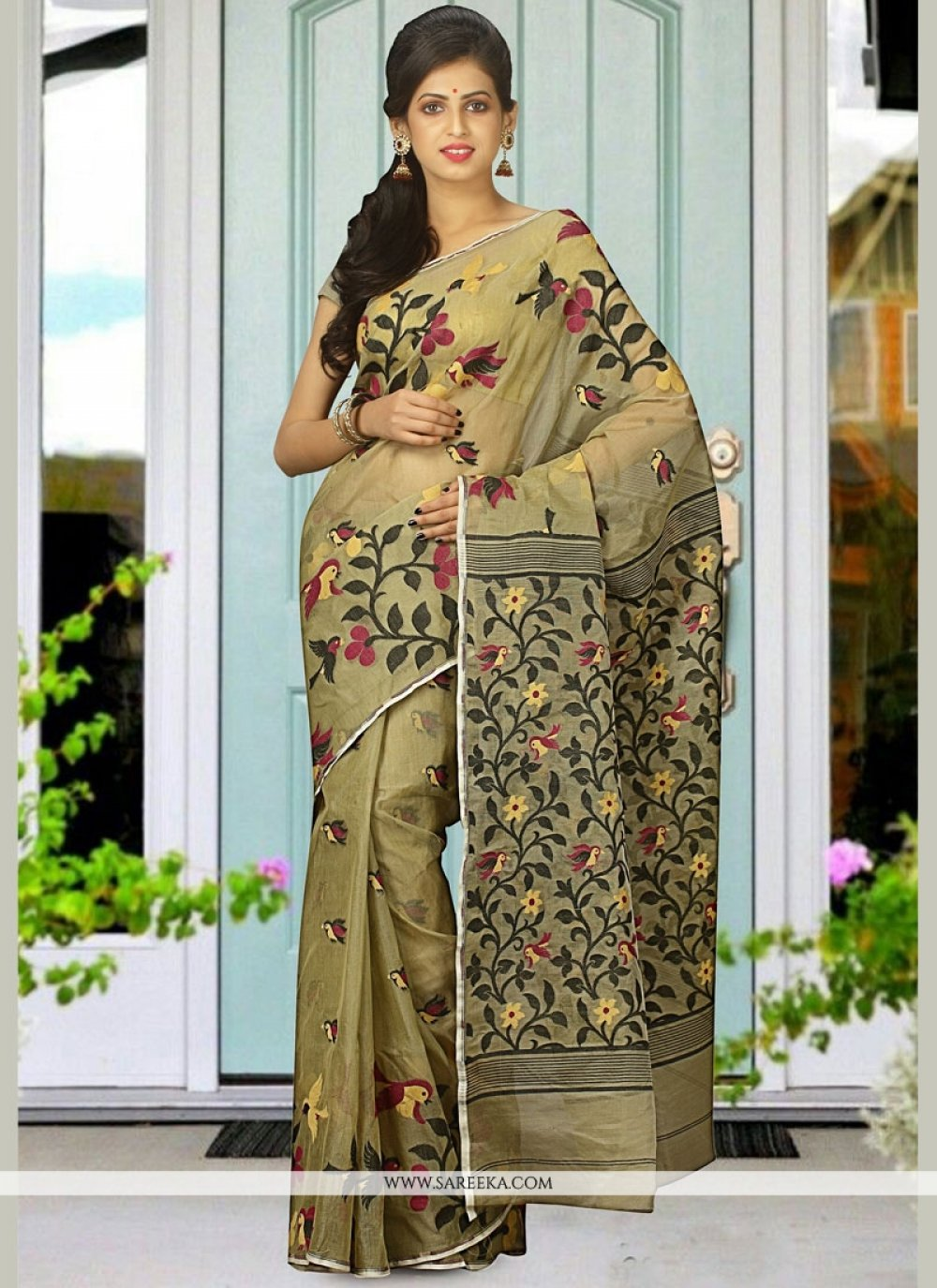 woven Work Cotton Silk Traditional Designer Saree