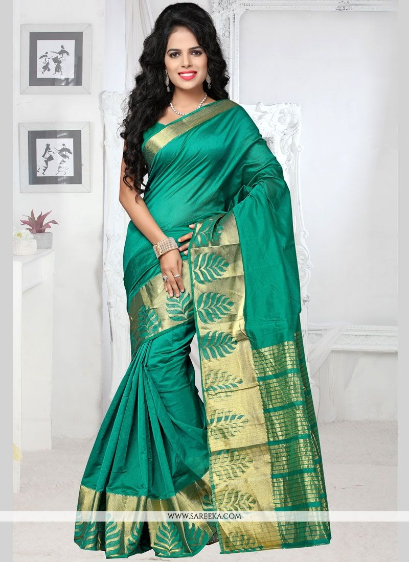 woven Work Green Traditional  Saree