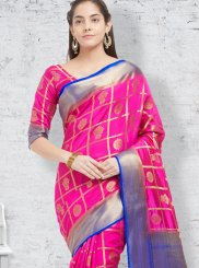 woven Work Hot Pink Casual Saree