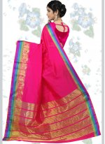 woven Work Hot Pink Traditional  Saree