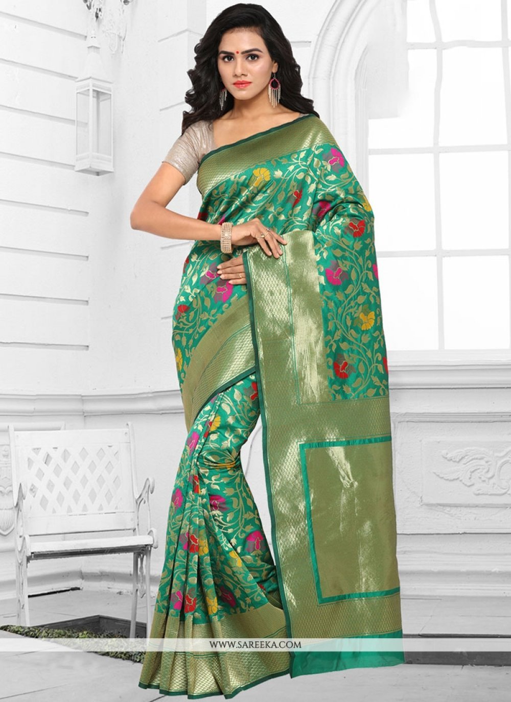 woven Work Kanchipuram silk Traditional  Saree