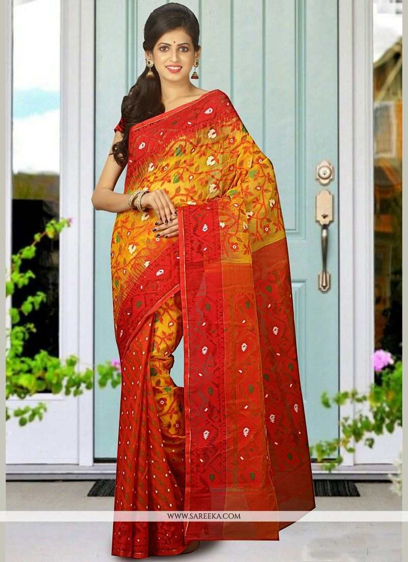 woven Work Multi Colour Cotton Silk Traditional  Saree