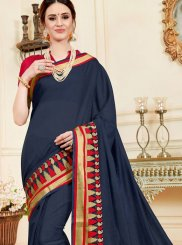 woven Work Navy Blue Casual Saree