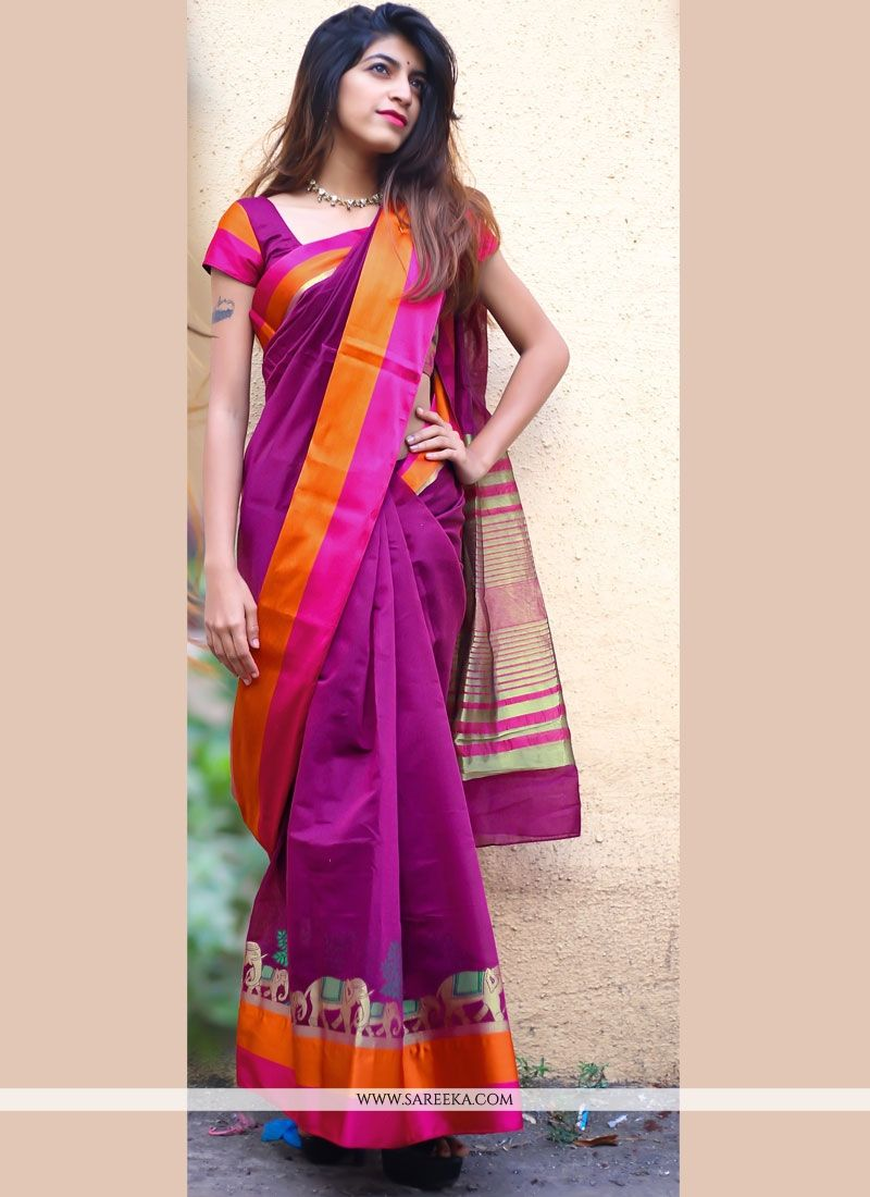 woven Work Purple Cotton Silk Casual Saree