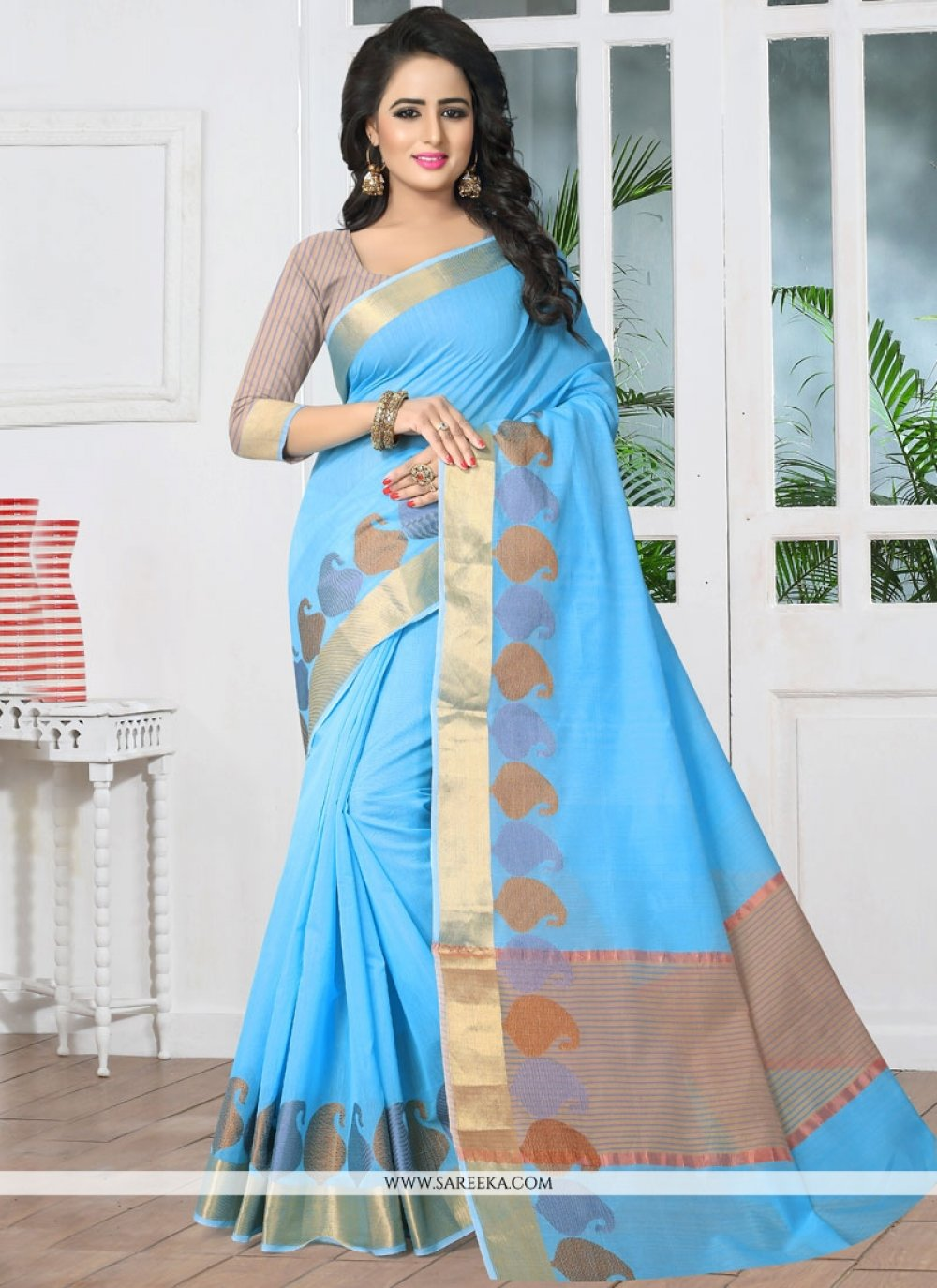 woven Work Turquoise Banarasi Silk Designer Traditional Saree