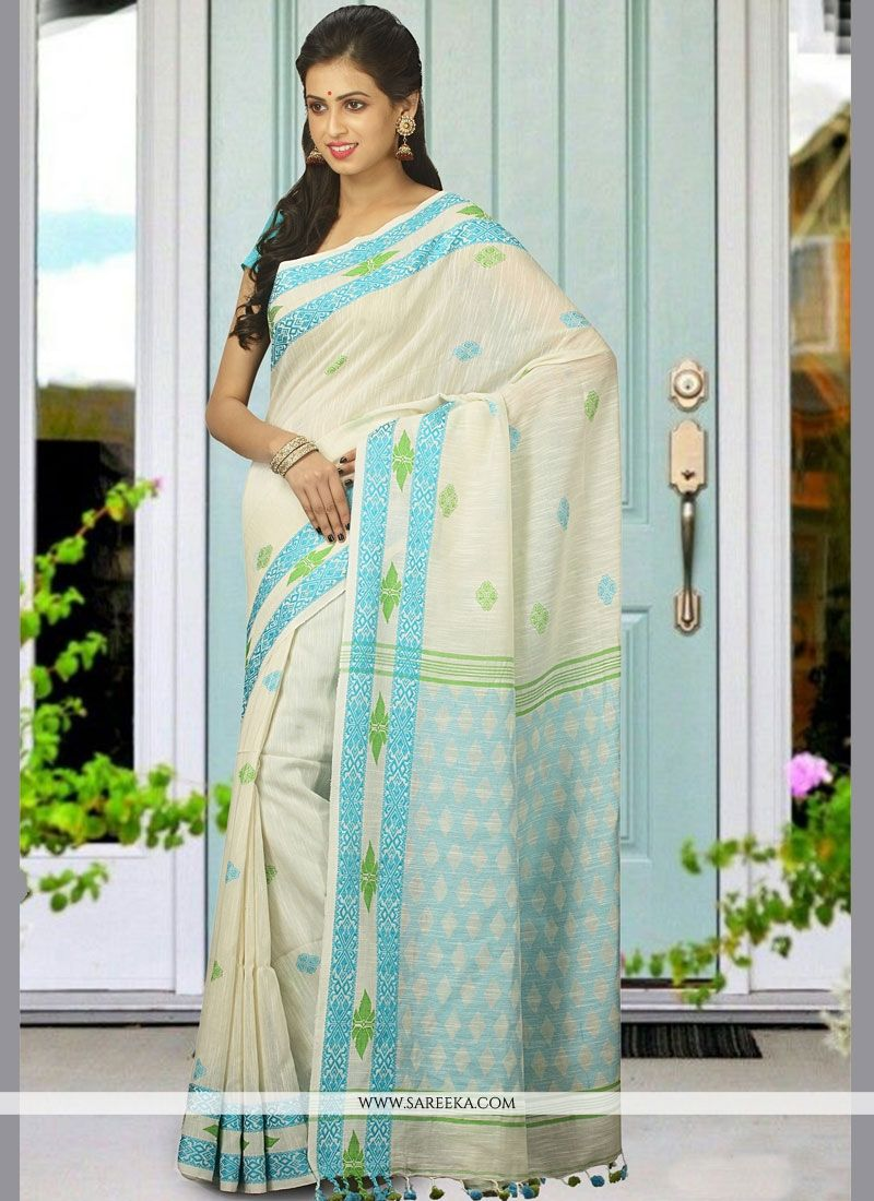 woven Work White Khadi Traditional  Saree