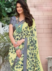 Yellow Abstract Print Faux Georgette Printed Saree