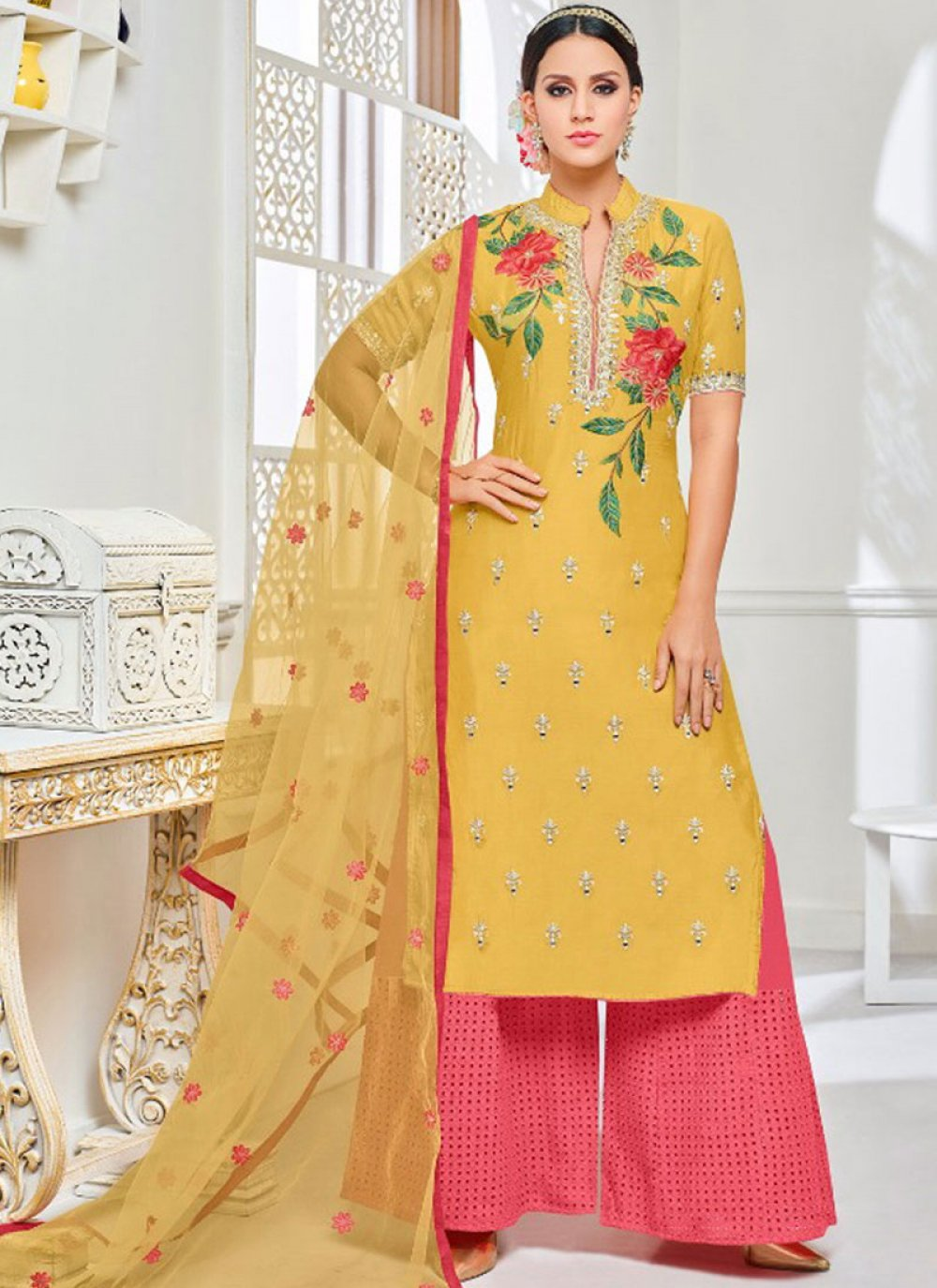 Yellow Art Silk Designer Palazzo Suit