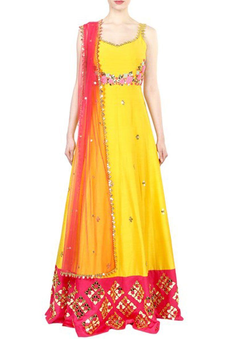 Yellow Art Silk Floor Length Anarkali Suit