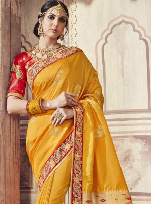 Yellow Banarasi Silk Ceremonial Trendy Saree
