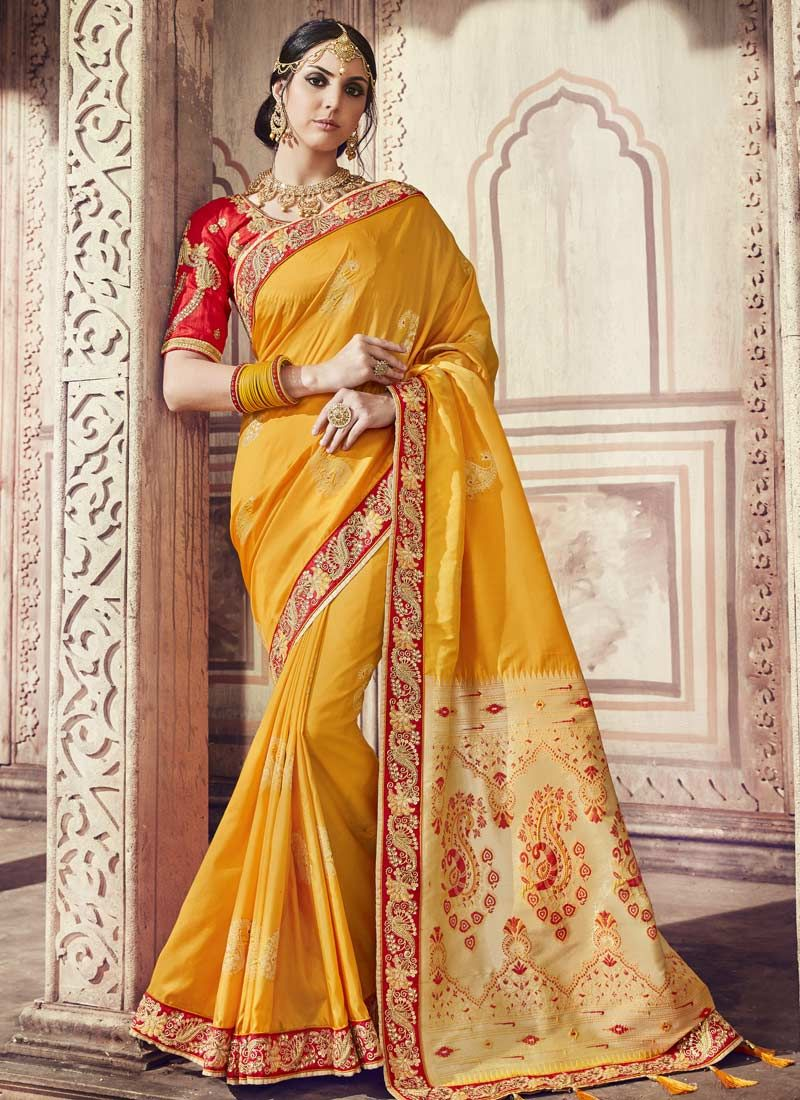 0ae90e0503 Shop Online Yellow Banarasi Silk Ceremonial Trendy Saree : 88613 -