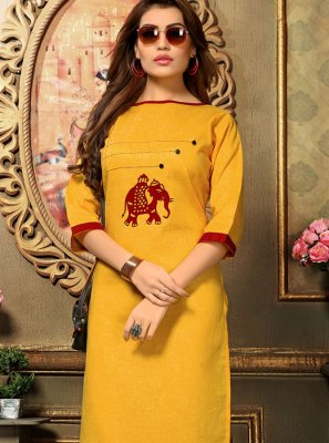 Yellow Casual Cotton   Casual Kurti