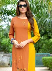 Yellow Casual Rayon Casual Kurti