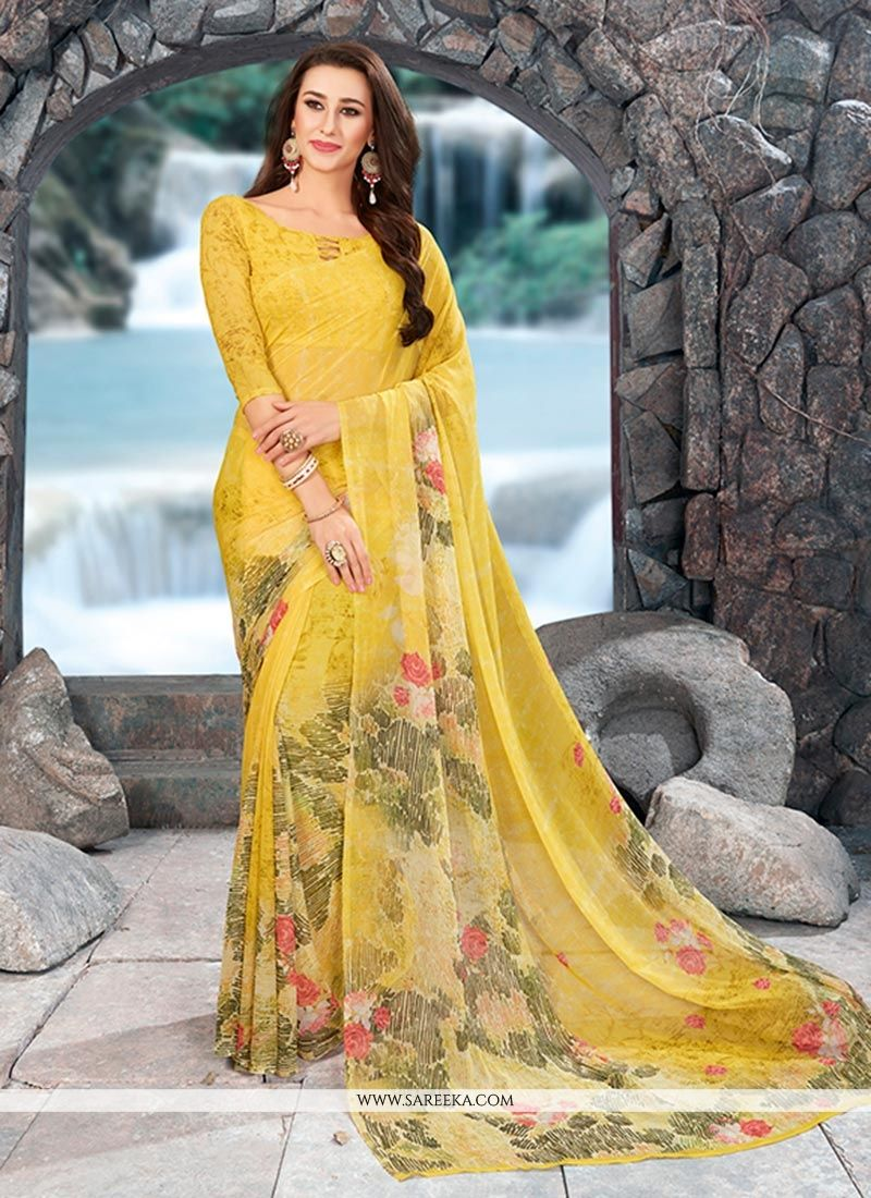 Yellow Casual Saree