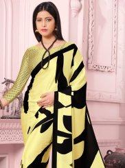 Yellow Casual Satin Silk Casual Saree