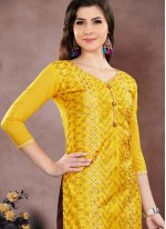 Yellow Chanderi Cotton Churidar Salwar Suit