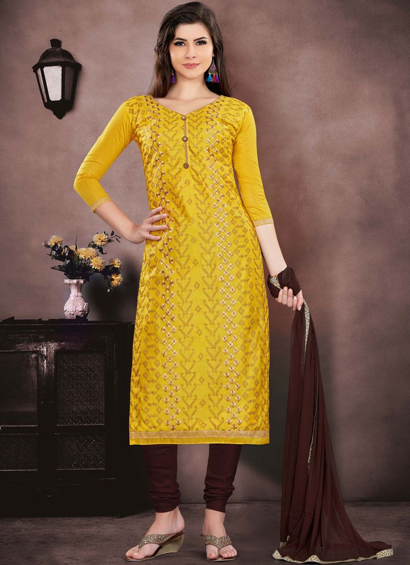 Yellow Chanderi Cotton Churidar Salwar Suit