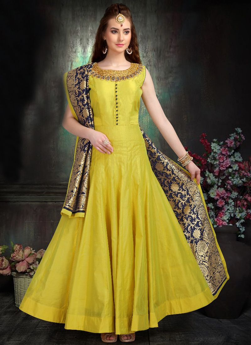 Yellow Chanderi Embroidered Readymade Suit