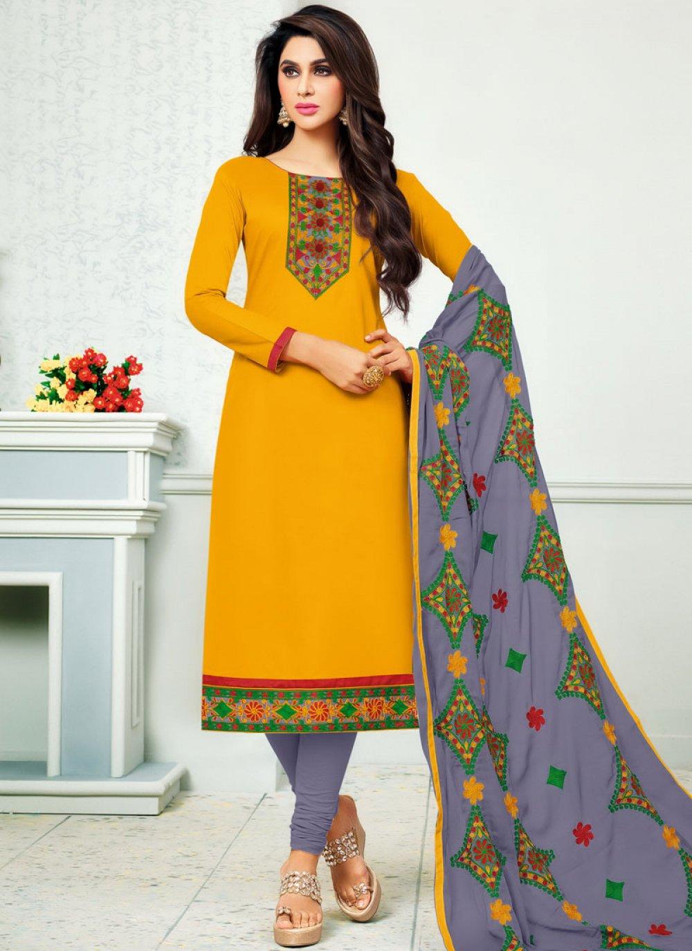 Yellow Cotton   Churidar Suit