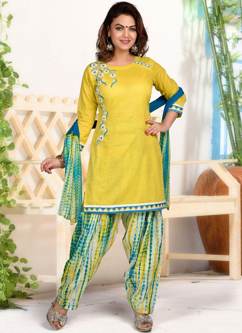 Yellow Cotton   Print Designer Patiala Salwar Kameez