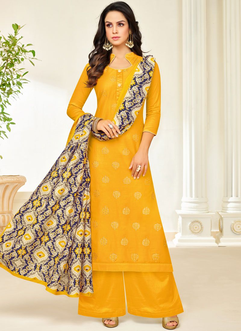 Yellow Digital Print Silk Palazzo Designer Salwar Suit