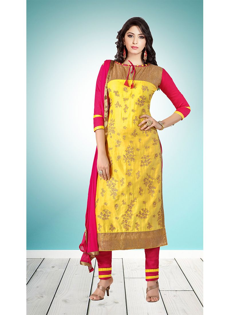 Yellow Embroidered Cotton   Designer Straight Suit