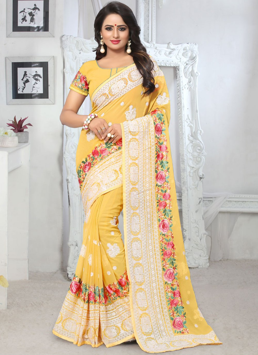 Yellow Embroidered Faux Georgette Classic Saree