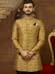 Yellow Embroidered Reception Indo Western