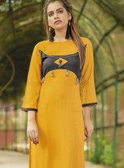 Yellow Fancy Casual Kurti