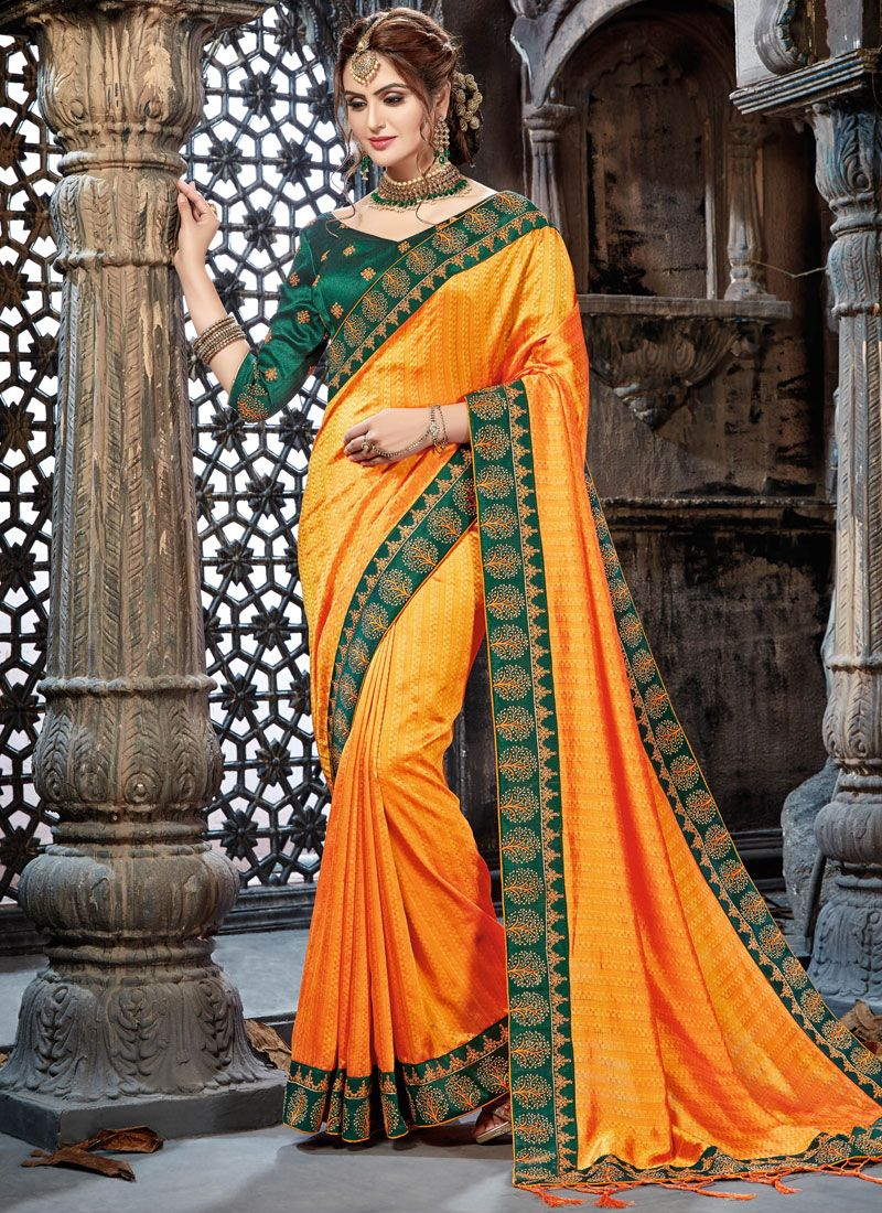Yellow Faux Chiffon Mehndi Trendy Saree