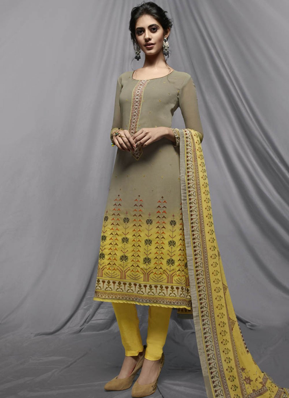 Yellow Faux Georgette Churidar Designer Suit