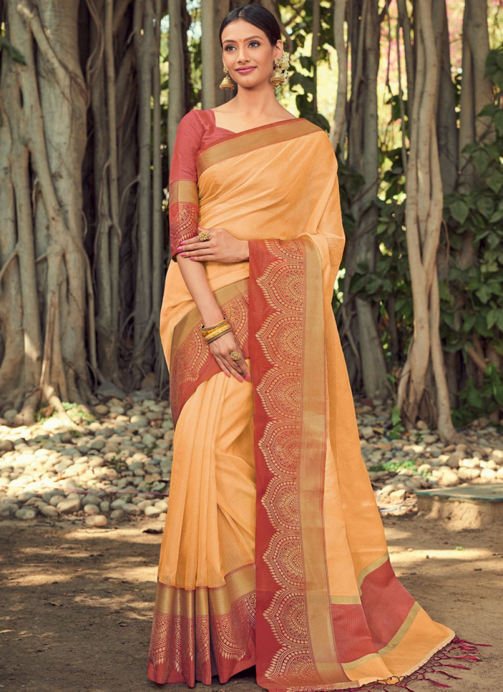 Yellow Festival Art Silk Designer Traditional Saree