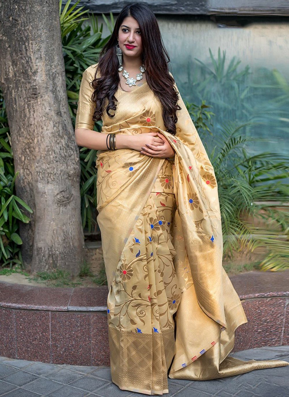 Yellow Festival Art Silk Traditional Saree