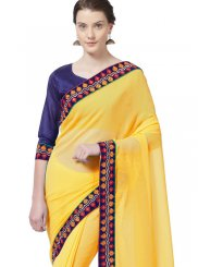 Yellow Lace Faux Chiffon Casual Saree