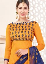 Yellow Lace Work Churidar Suit