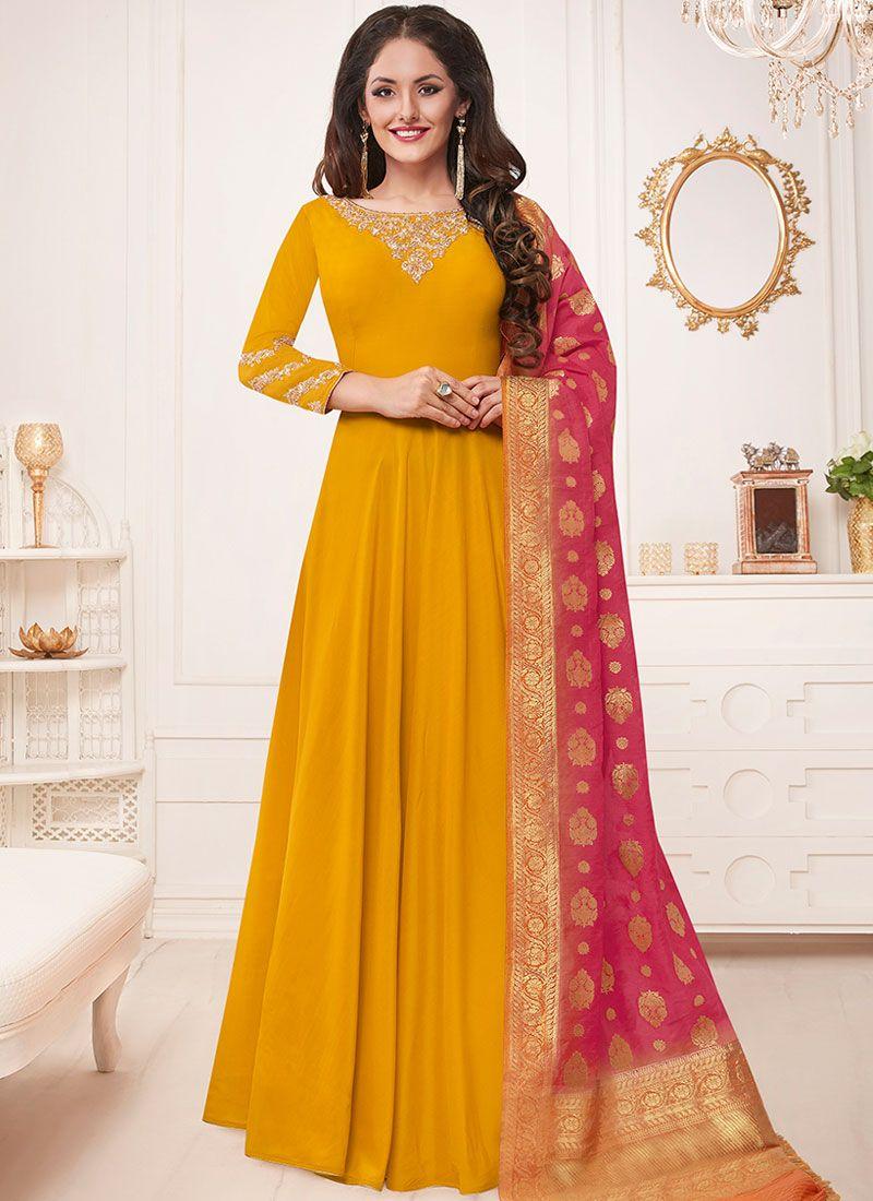 Yellow Muslin Floor Length Anarkali Suit
