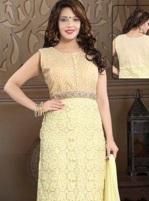 Yellow Net Reception Salwar Suit