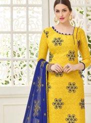 Yellow Patchwork Jacquard Salwar Kameez