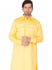 Yellow Plain Kurta Pyjama
