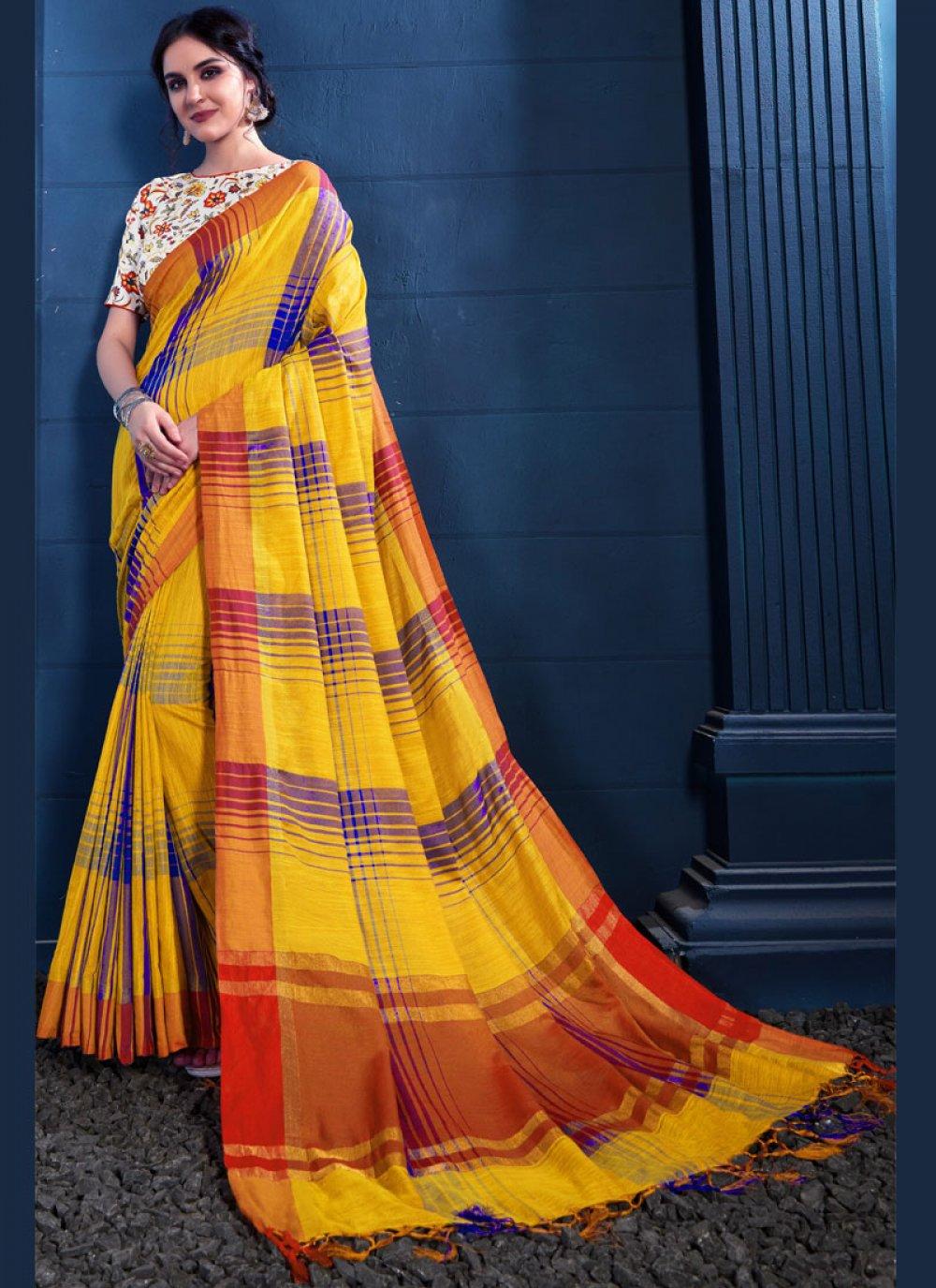 Yellow Print Trendy Saree