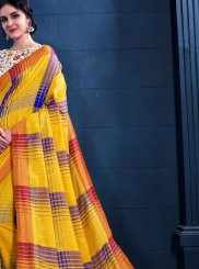 Yellow Print Trendy Saree
