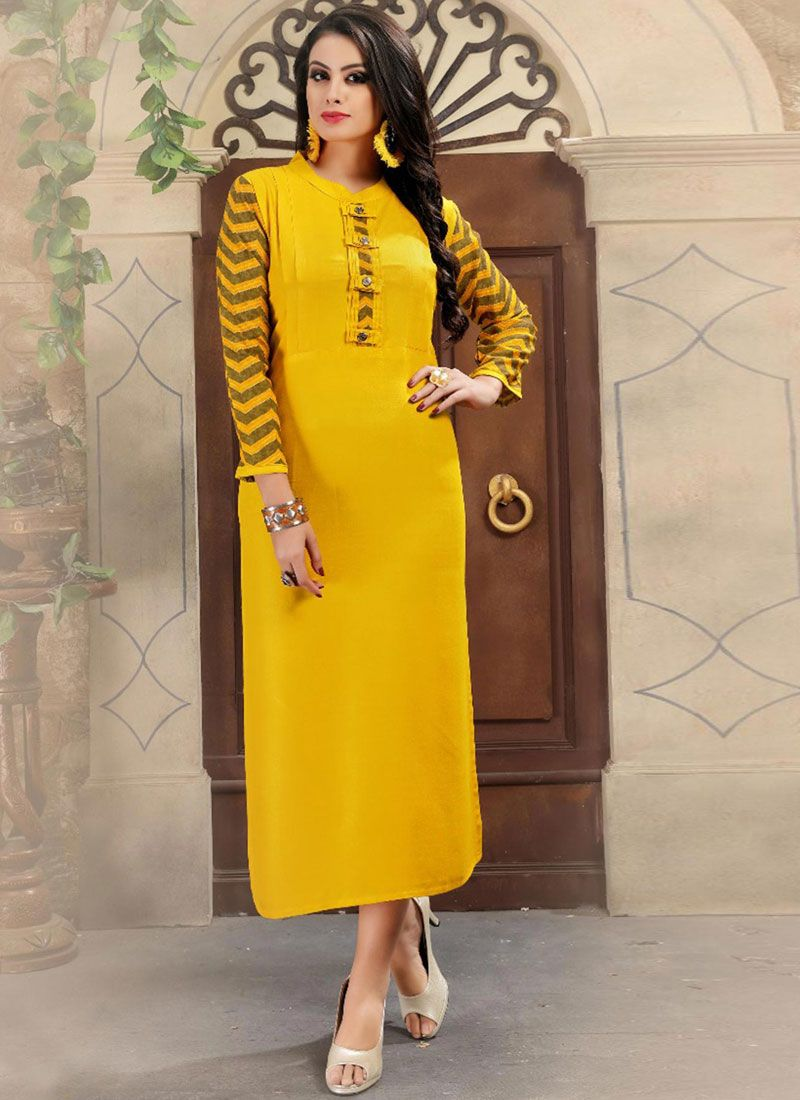 Yellow Print Work Casual Kurti