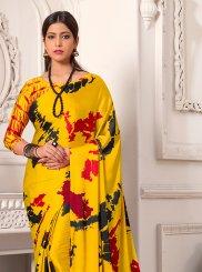 Yellow Printed Saree