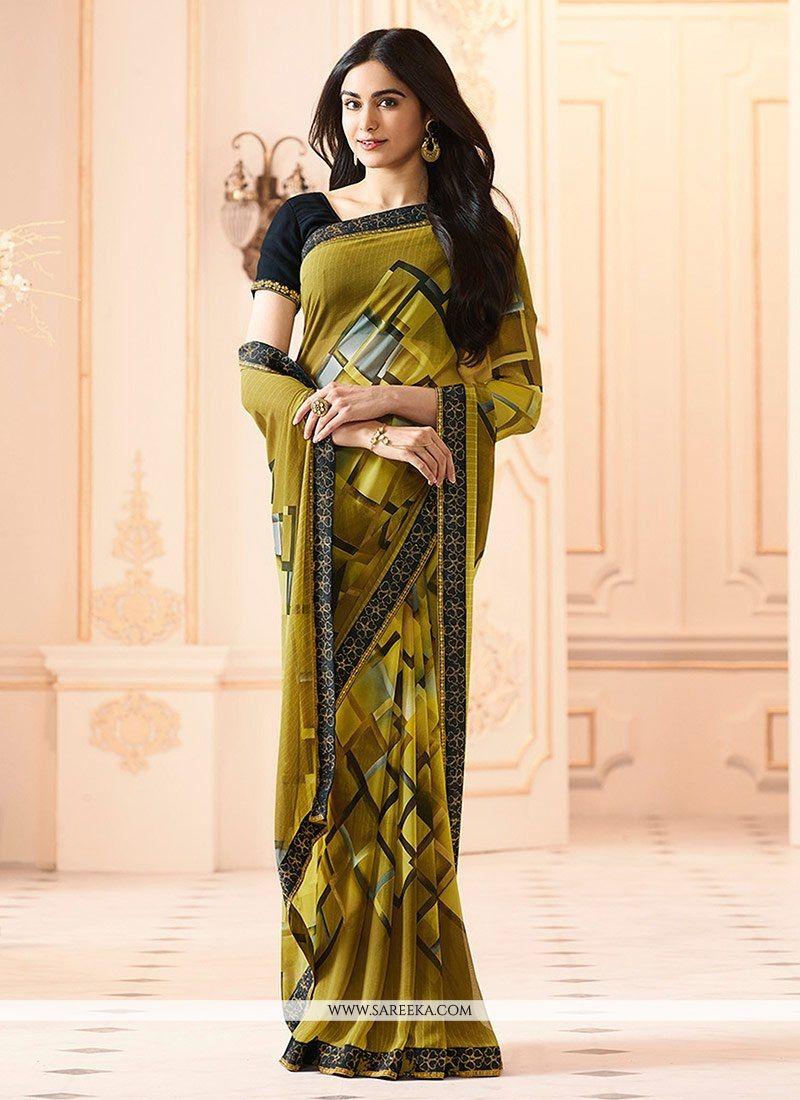 Yellow Printed Work Work Georgette Casual Saree