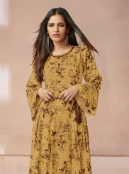Yellow Rayon Print Party Wear Kurti