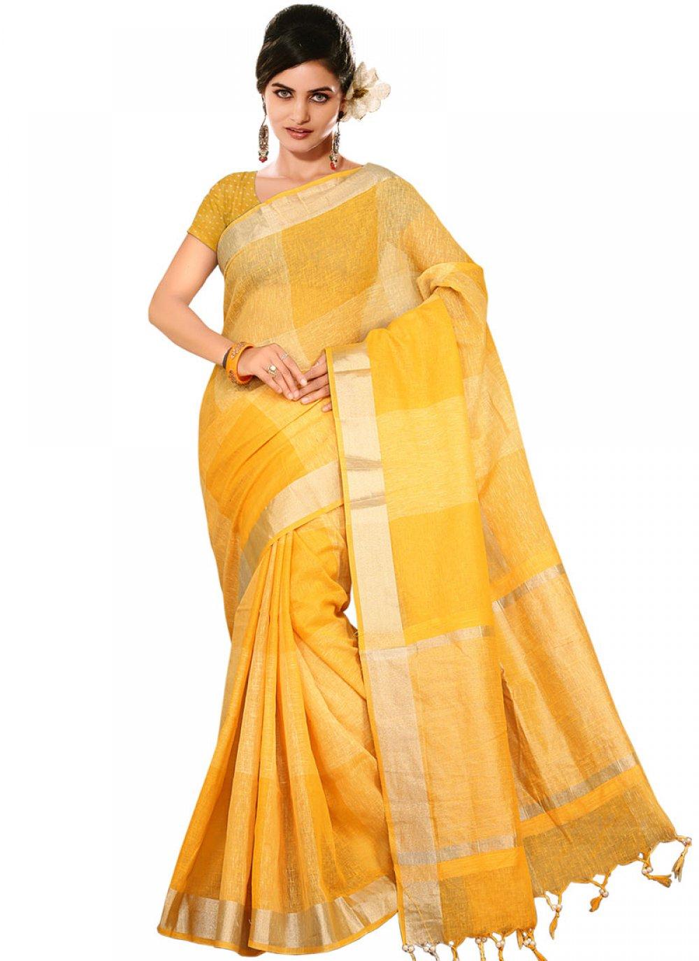 Yellow Weaving Handloom silk Traditional Designer Saree