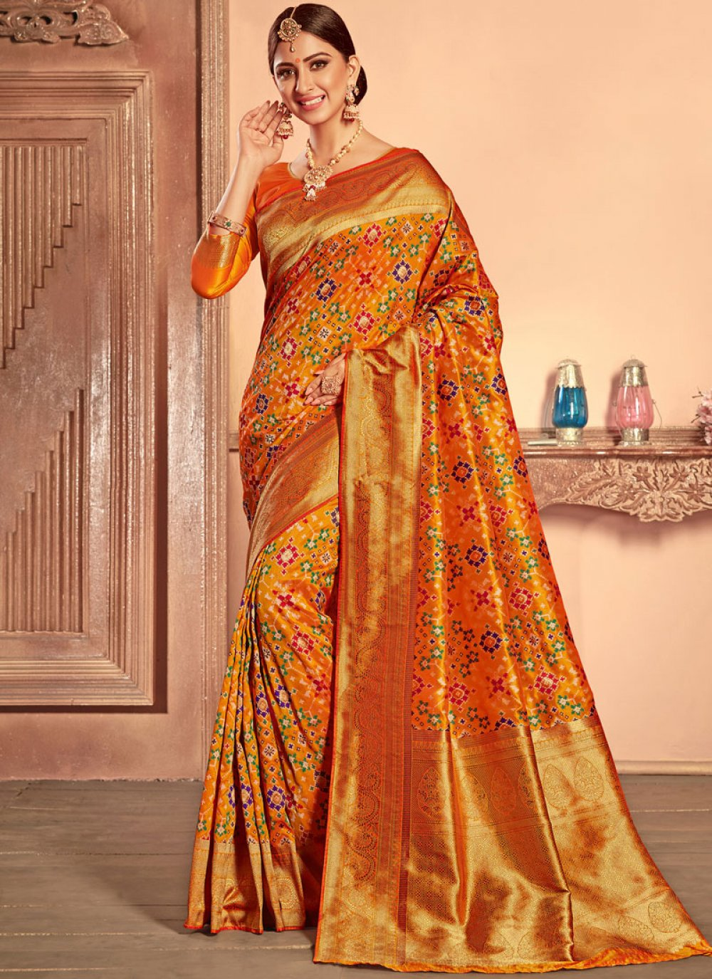 Orange Weaving Patola Silk  Designer Traditional Saree