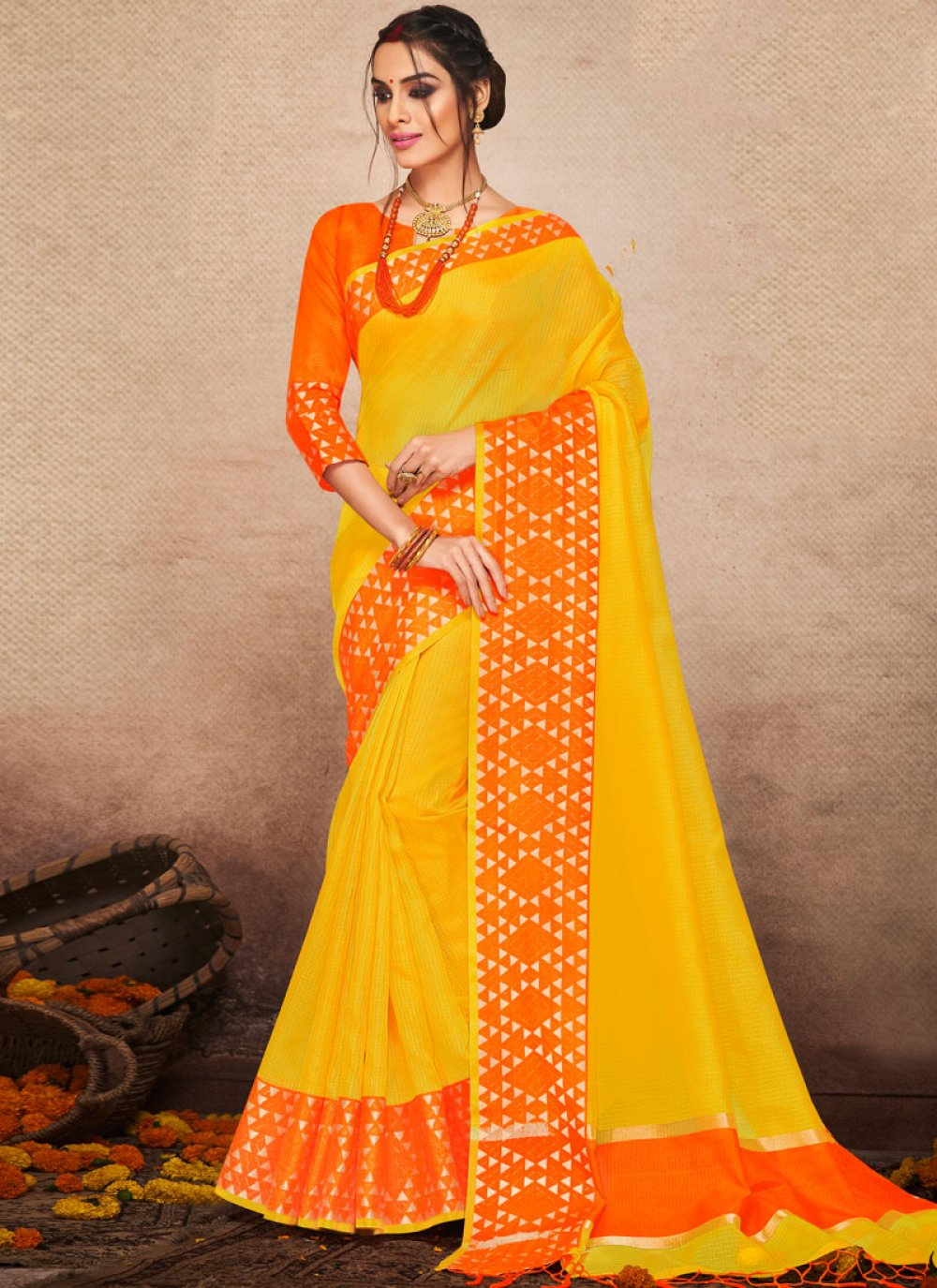 Yellow Woven Festival Traditional Saree