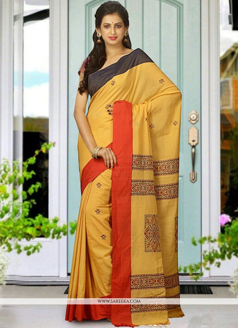 Yellow woven Work Traditional Designer Saree