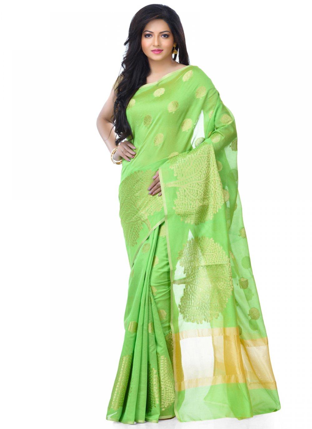 Zari Banarasi Silk Green Classic Designer Saree